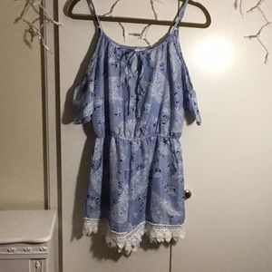 Medium off the shoulder Blue Floral Romper